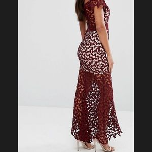 Crochet type dress. Nude with maroon overlay